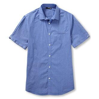 美國百分百【全新真品】MURANO 襯衫 短袖 上衣 上班 休閒 素面 專櫃 合身 藍色 男 L號 E188