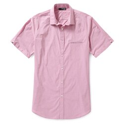 美國百分百【全新真品】MURANO 襯衫 短袖 上衣 上班 休閒 素面 專櫃 合身 粉紅色 男 M號 E188