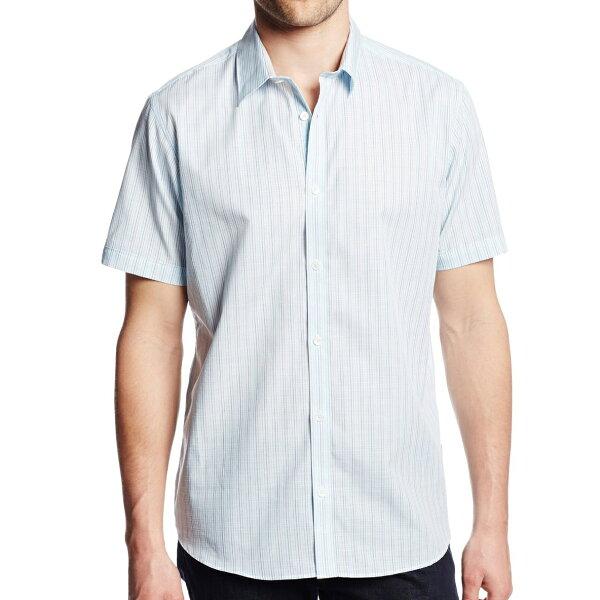 美國百分百【全新真品】CalvinKlein襯衫CK男衣短袖水藍色條紋休閒襯衫上衣S號E198