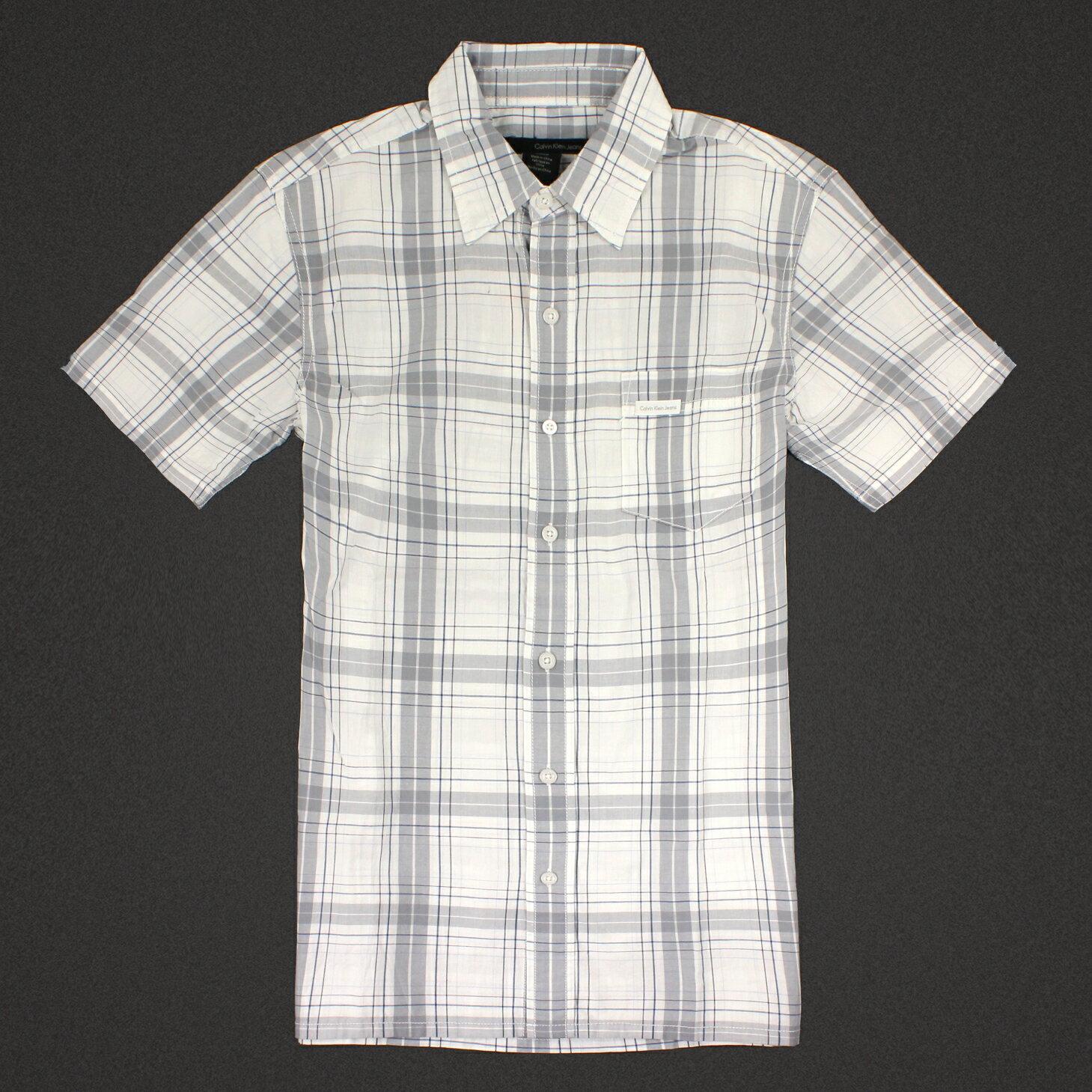 美國百分百【全新真品】Calvin Klein 襯衫 CK 男衣 短袖 格紋 休閒 上衣 S號 淺灰色 E201