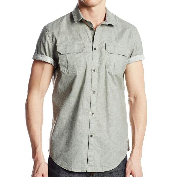 美國百分百【全新真品】CalvinKlein襯衫CK男衣短袖口袋素面休閒上衣M號灰色E204