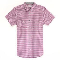 美國百分百【全新真品】Calvin Klein 襯衫 CK 男衣 短袖 格紋 休閒 上衣 M L號 灰 粉紅色 E208