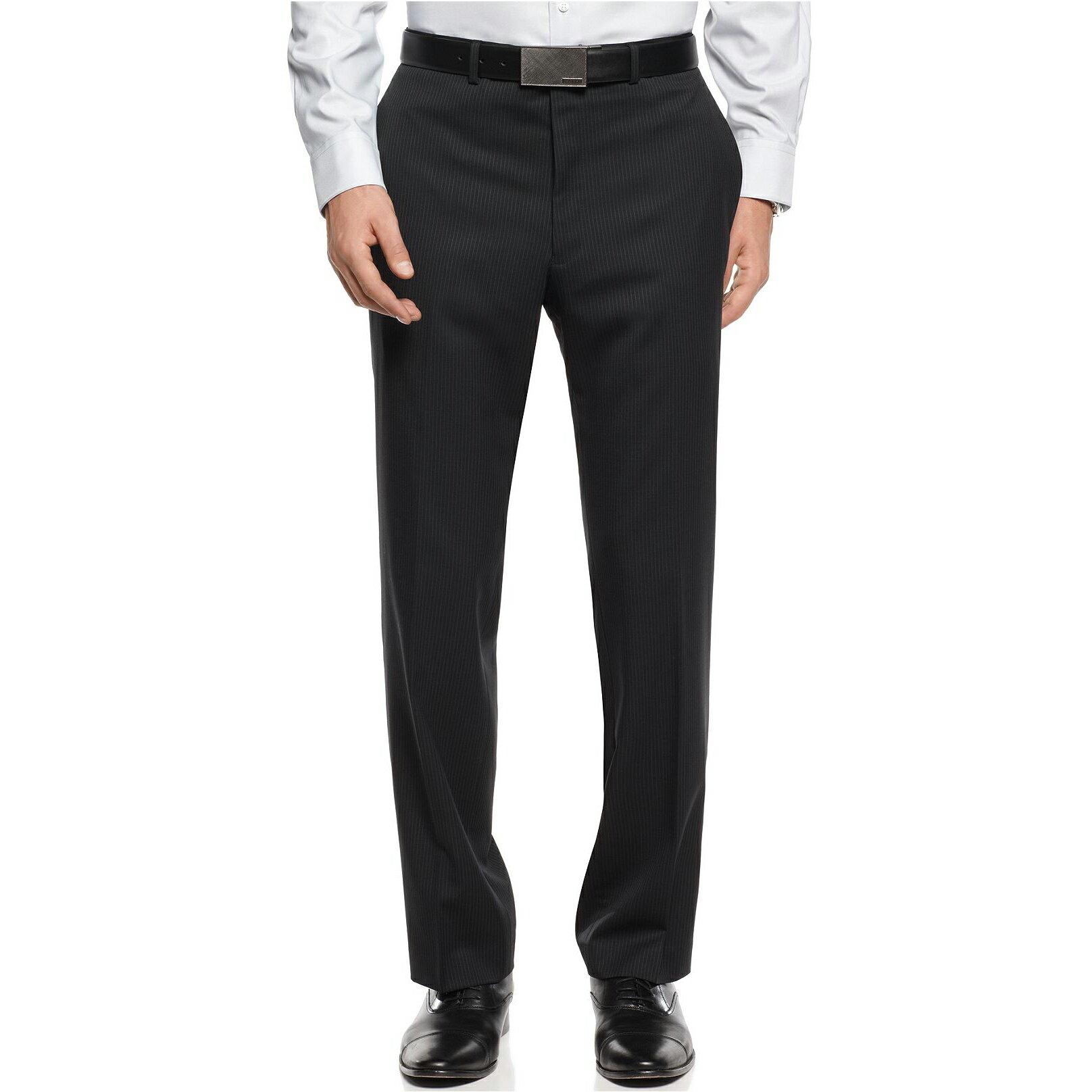 美國百分百【全新真品】Calvin Klein 長褲 西裝褲 直筒褲 上班 休閒 合身 窄 黑 條紋 31 32腰 E217