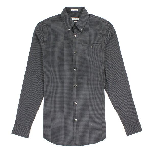 美國百分百【全新真品】CalvinKlein襯衫CK男衣長袖上班休閒合身格紋XS號黑色E229