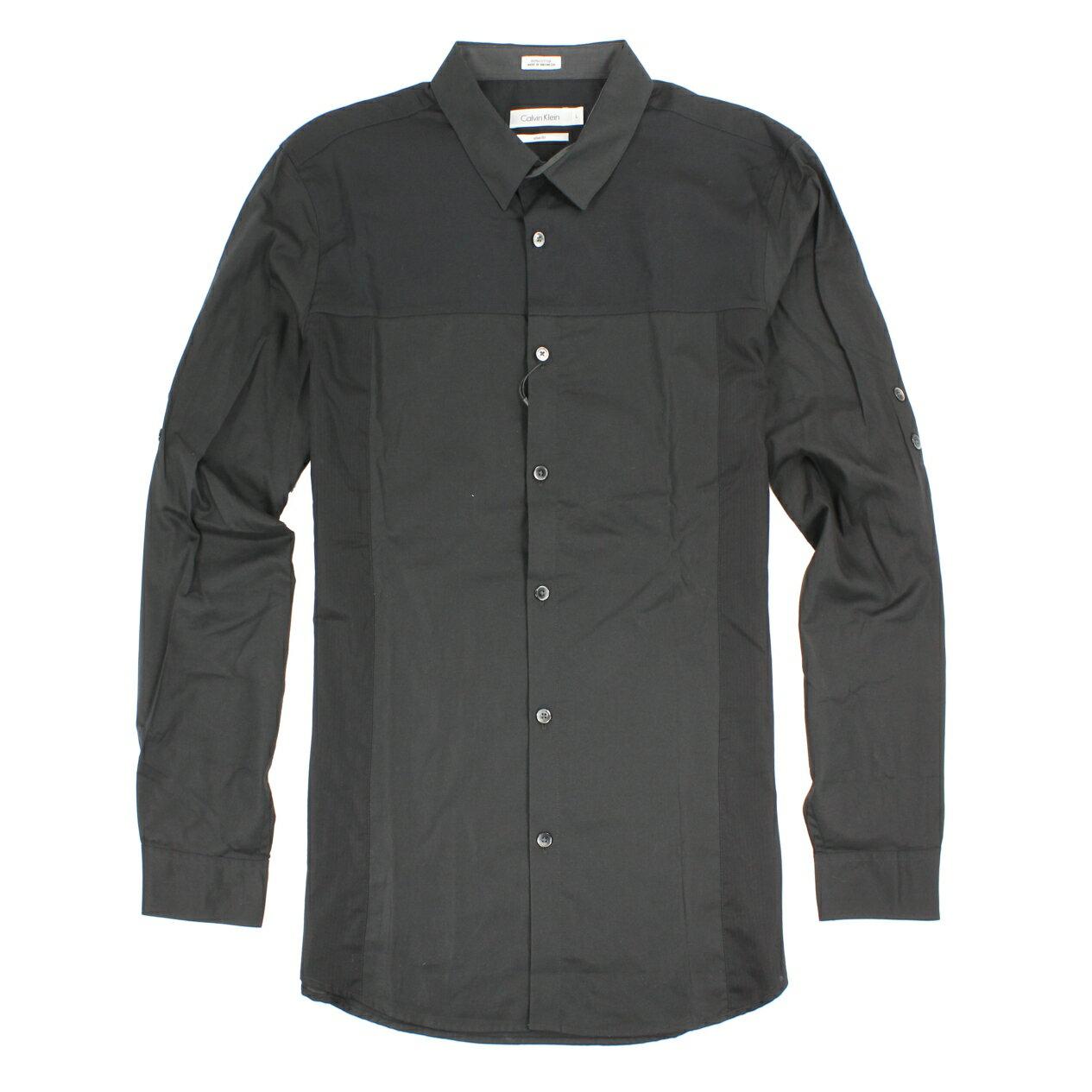 美國百分百【全新真品】Calvin Klein 襯衫 CK 男衣 長袖 上班 休閒 合身 拼接 M號 黑色 E236