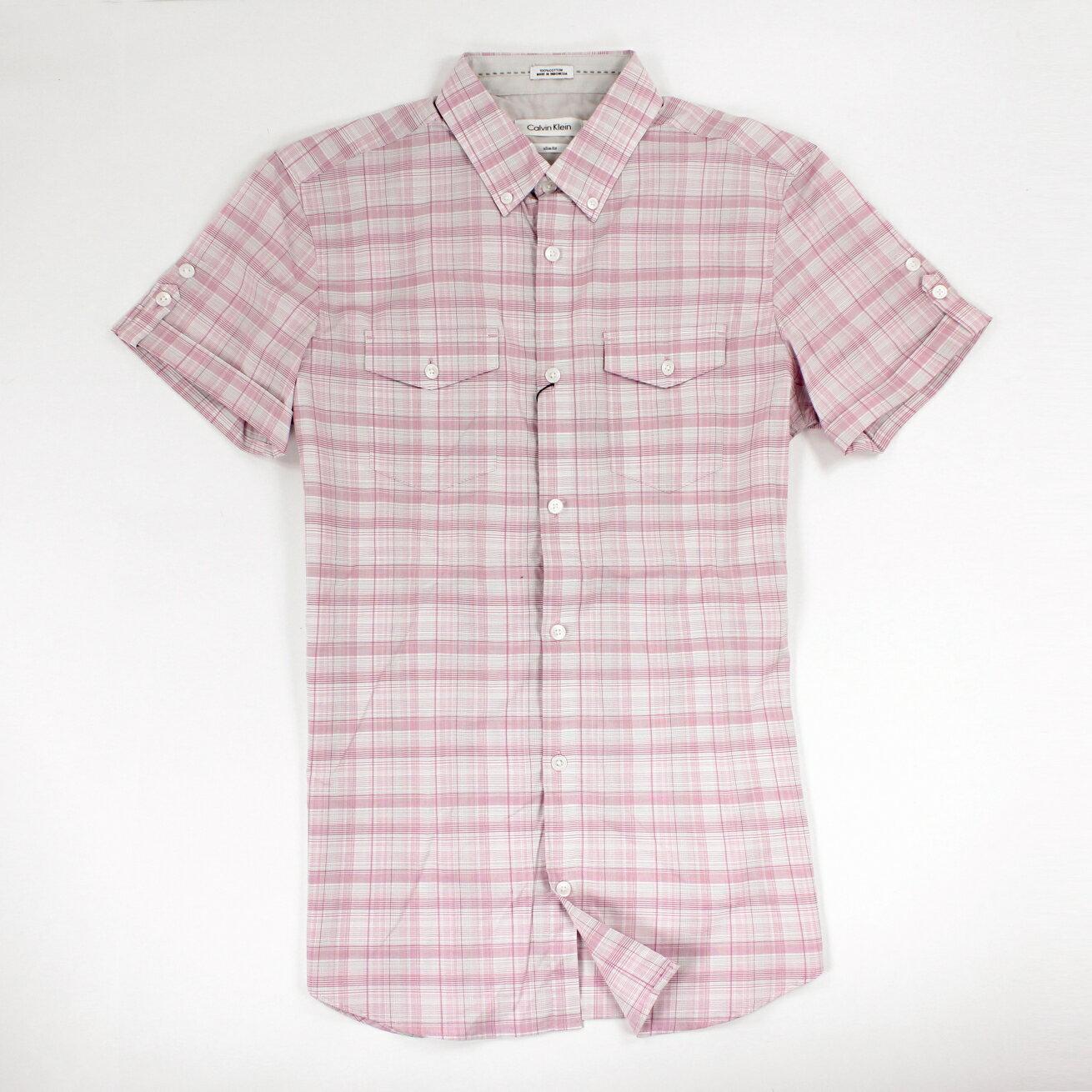 美國百分百【全新真品】Calvin Klein 襯衫 CK 男衣 短袖 上班 休閒 合身 格紋 XS M 粉紅 E237