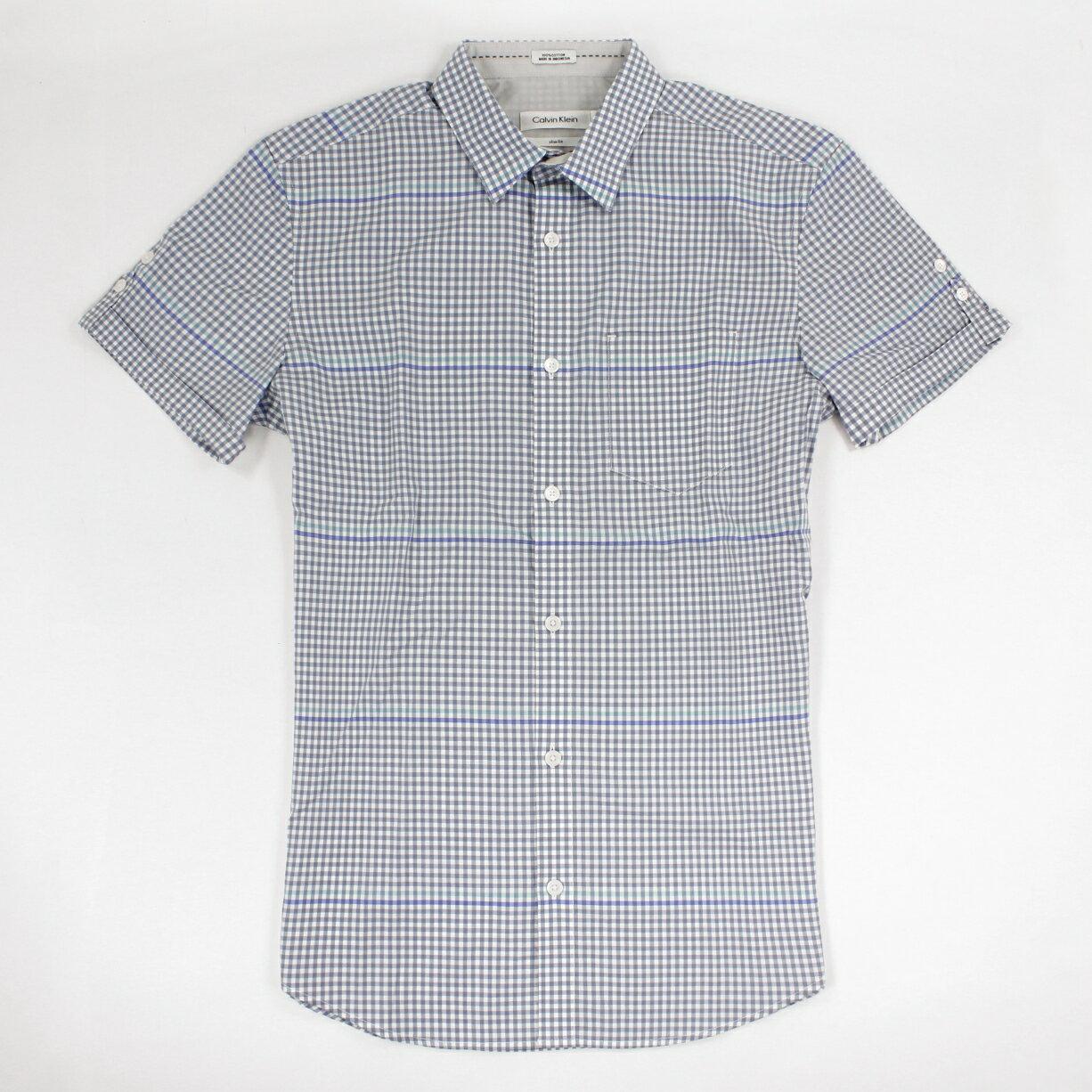 美國百分百【全新真品】Calvin Klein 襯衫 CK 男衣 短袖 上班 休閒 合身 格紋 XS L 粉藍 E238