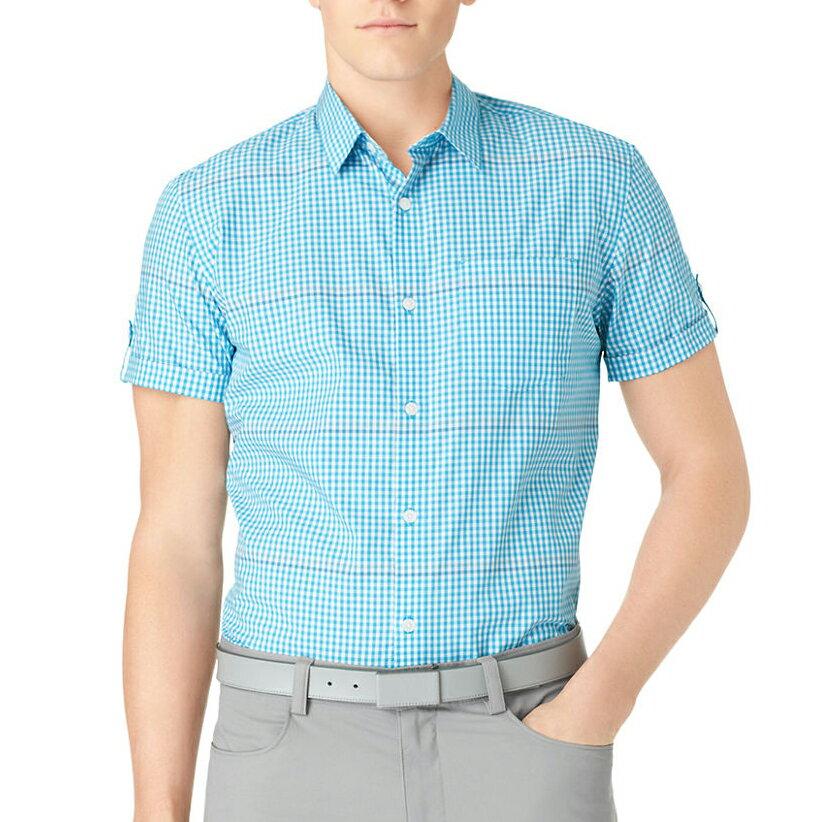 美國百分百【全新真品】Calvin Klein 襯衫 CK 男衣 短袖 上班 休閒 合身 格紋 XS號 藍色 E238