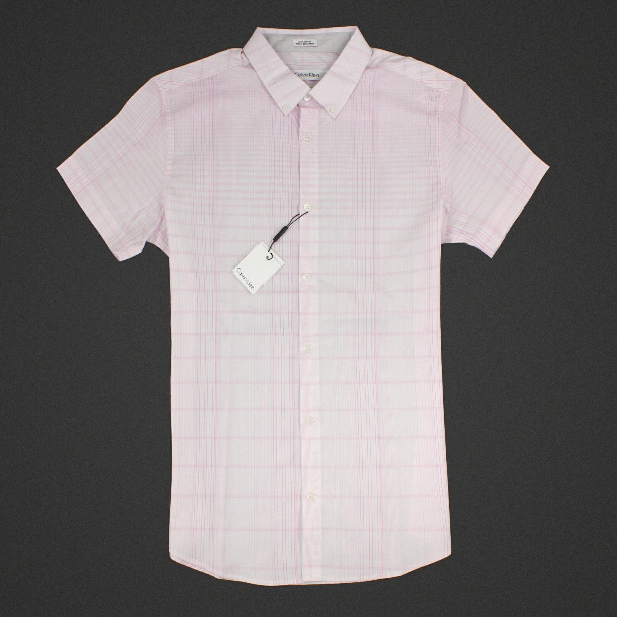 美國百分百【全新真品】Calvin Klein 襯衫 CK 男衣 短袖 上班 休閒 合身 格紋 XS S XL E239