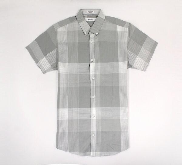 美國百分百【全新真品】CalvinKlein襯衫CK男衣短袖上班休閒格紋灰色S號E248