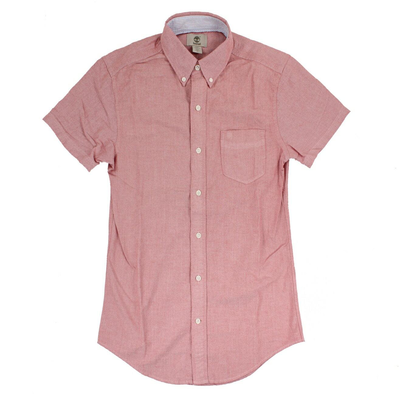 美國百分百【全新真品】Timberland 男 短袖 襯衫 素面 上衣 休閒 口袋 牛津 粉紅 S號 E255