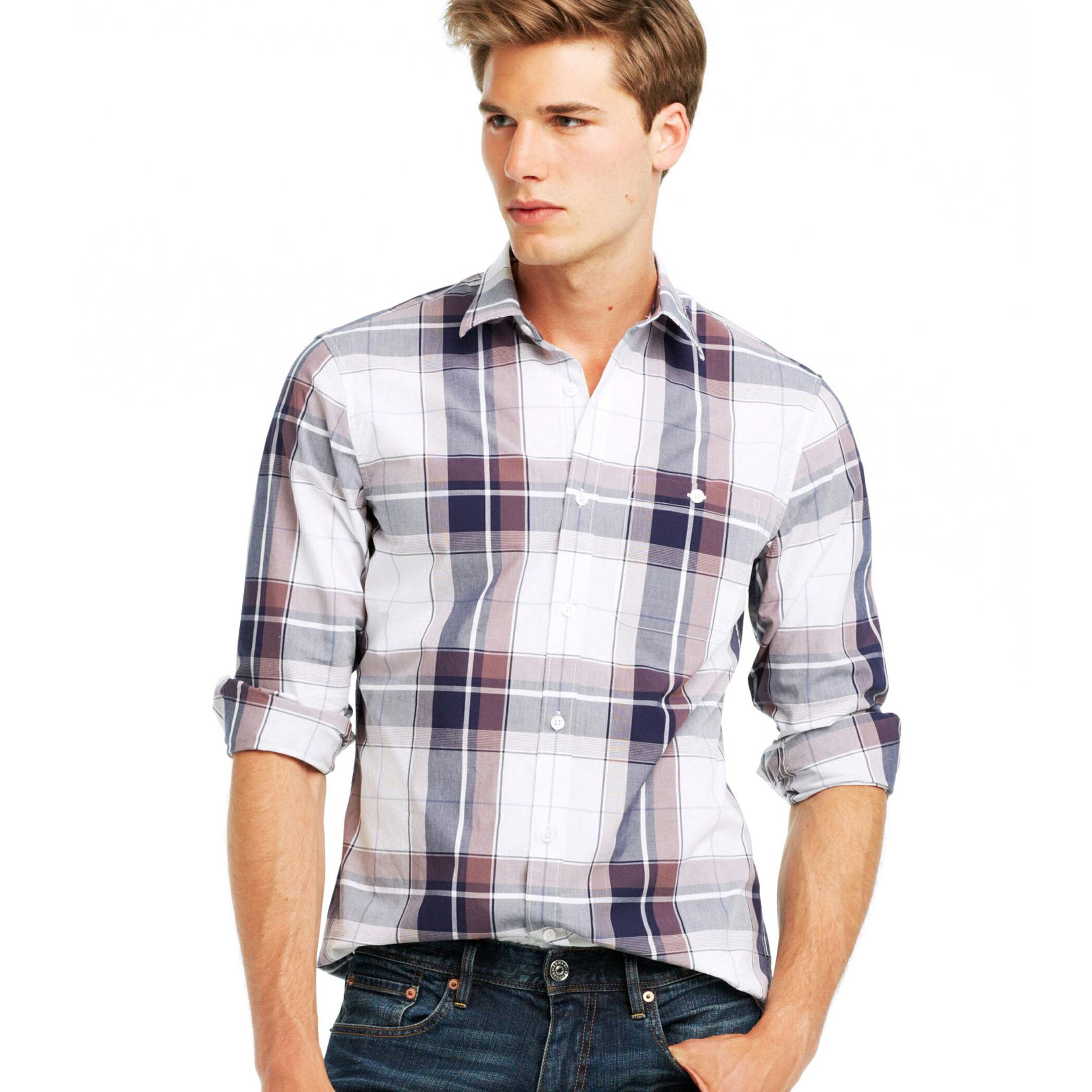 美國百分百【全新真品】Armani Exchange 襯衫 AX 長袖 上衣 上班 休閒 咖啡色 格紋 S號 E259
