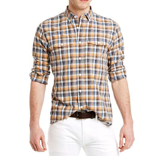 美國百分百【全新真品】Armani Exchange 襯衫 AX 長袖 上衣 上班 休閒 橘色 格紋 S M號 E260
