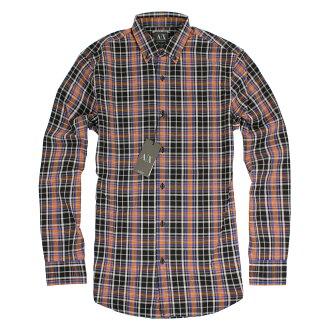 美國百分百【全新真品】Armani Exchange 襯衫 AX 長袖 上衣 上班 休閒 橘黑 格紋 S M號 E261