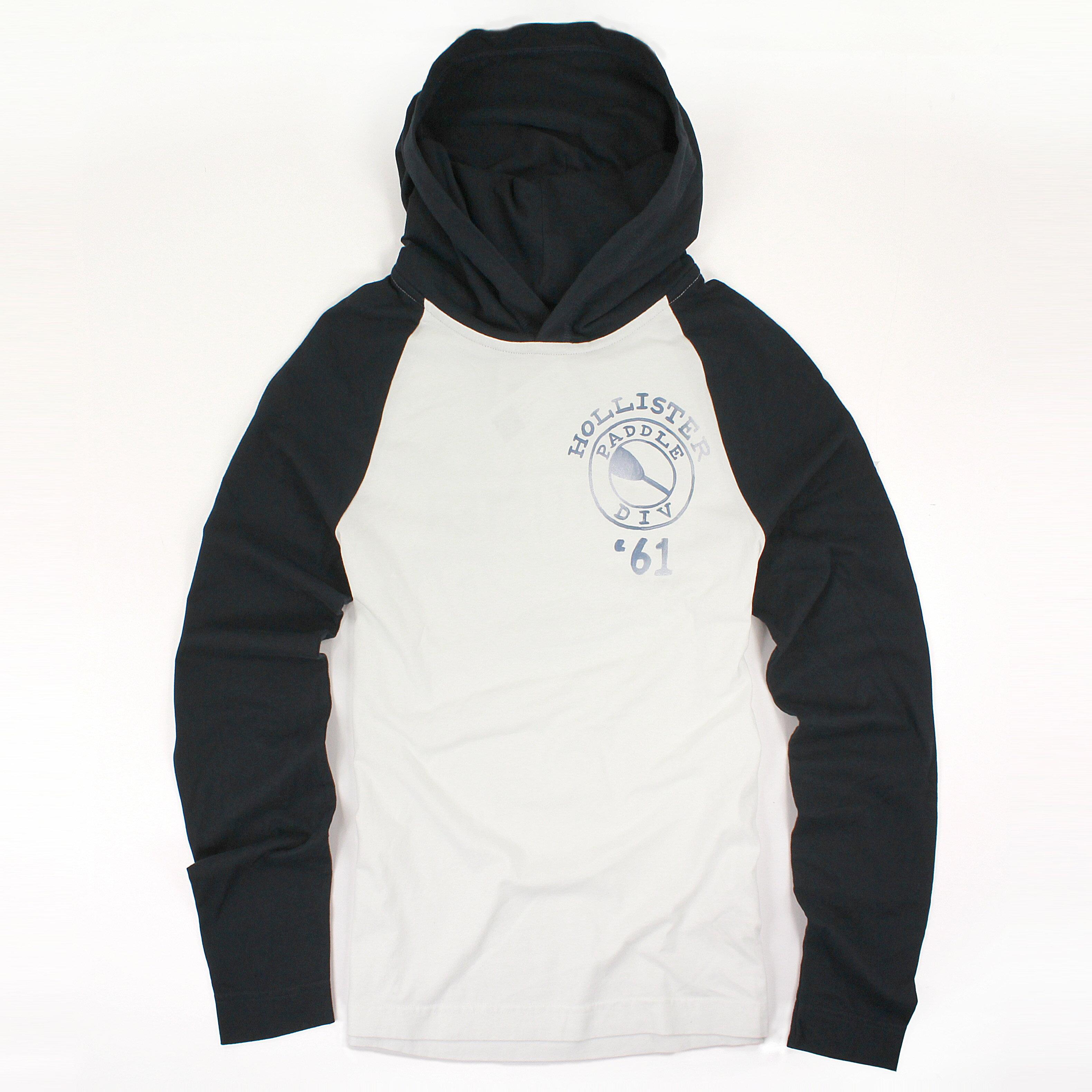 美國百分百【全新真品】Hollister Co. T恤 HCO 長袖 T-shirt 海鷗 棒球 連帽 M 白 B697