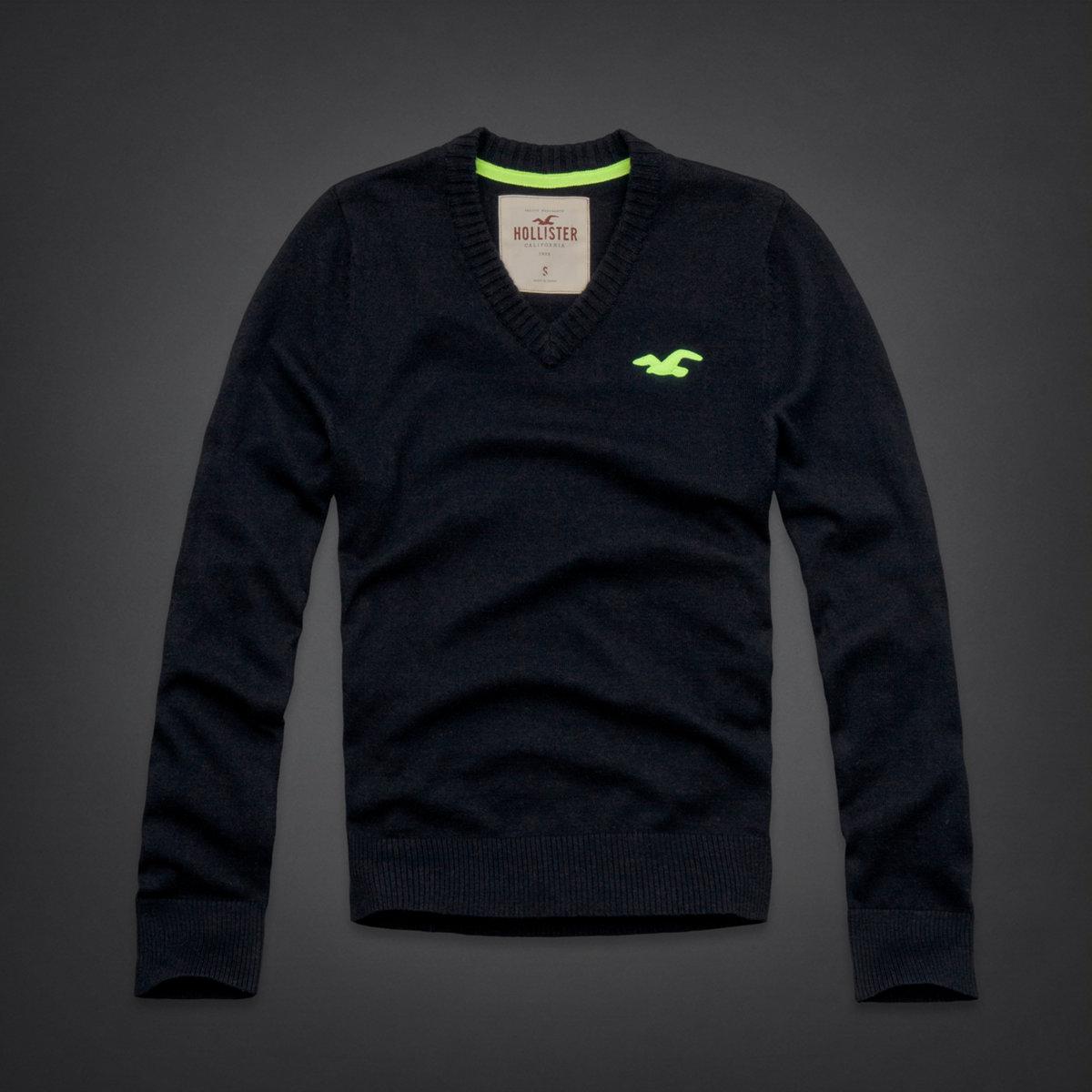 美國百分百【全新真品】Hollister Co. HCO 海鷗 V領 深藍 素面 毛衣 針織衫 線衫 M號 C407