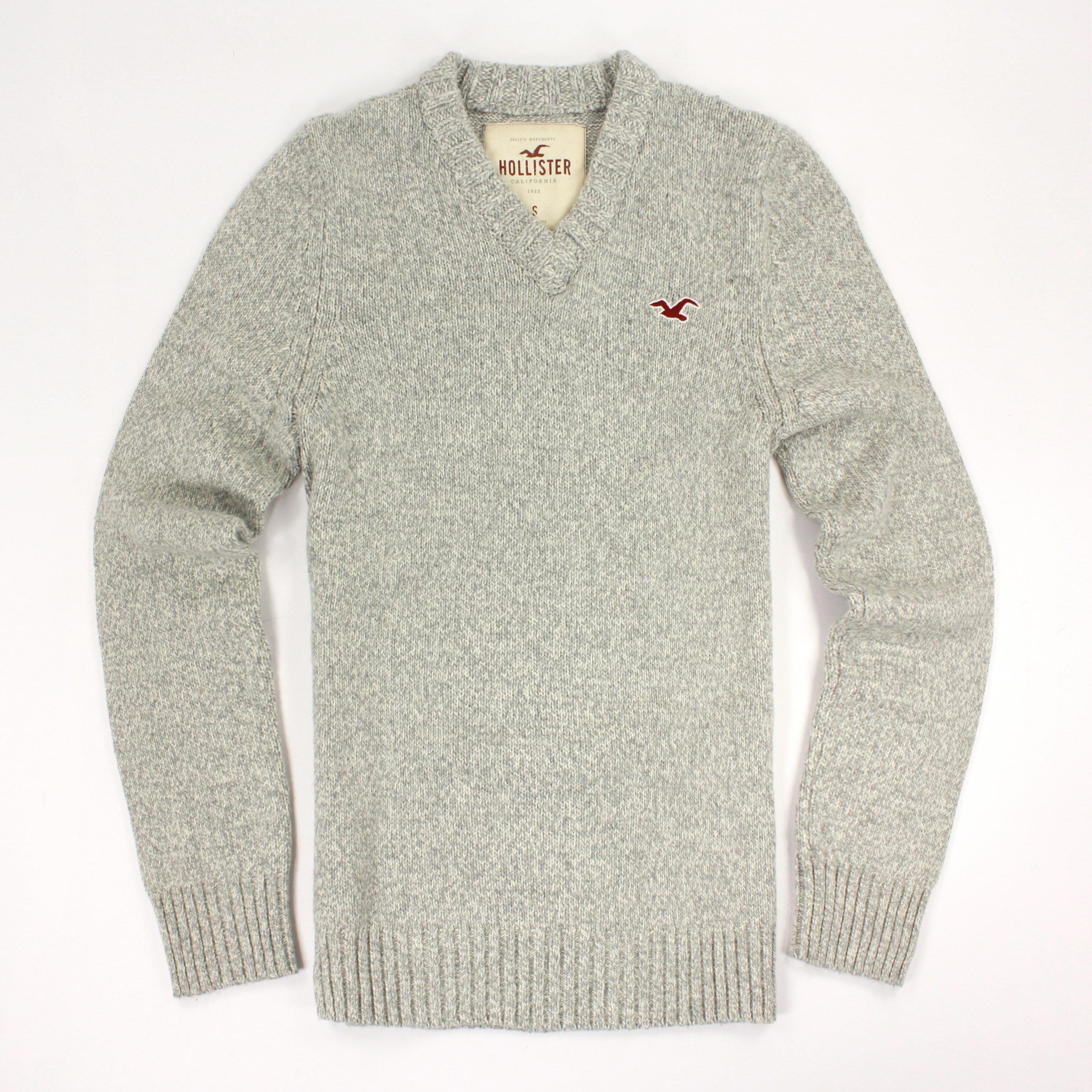 美國百分百【全新真品】Hollister Co. HCO 海鷗 V領 淺灰 素面 毛衣 針織衫 線衫 S號 C409