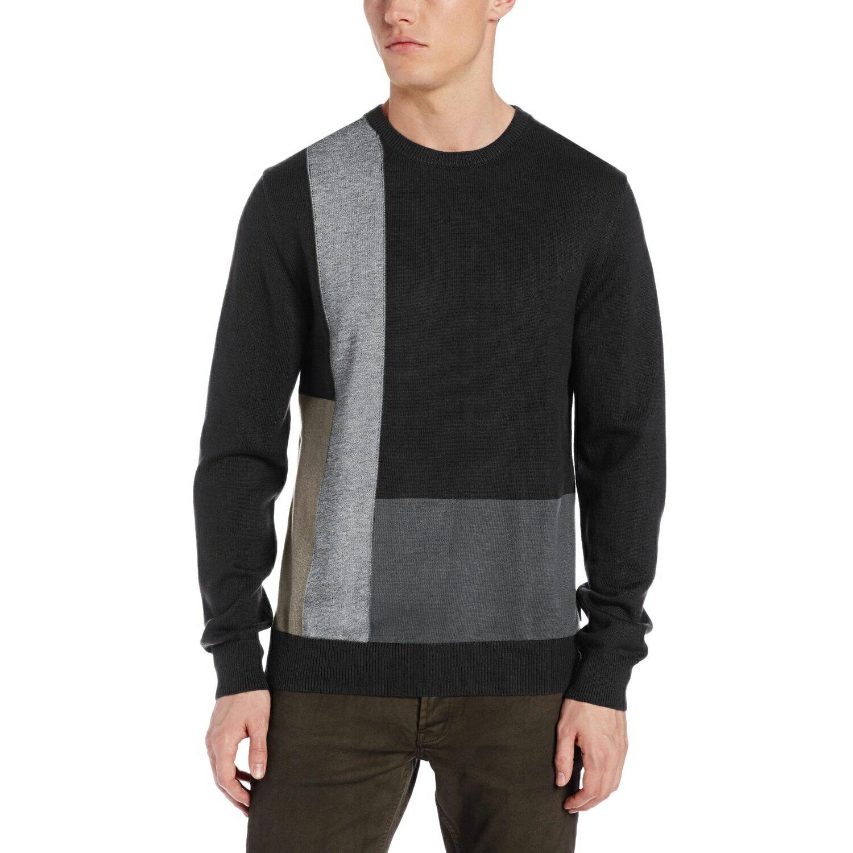 美國百分百【全新真品】Calvin Klein 針織衫 CK 棉質 毛衣 線衫 黑 灰色 圓領 格紋 男 M號 E272