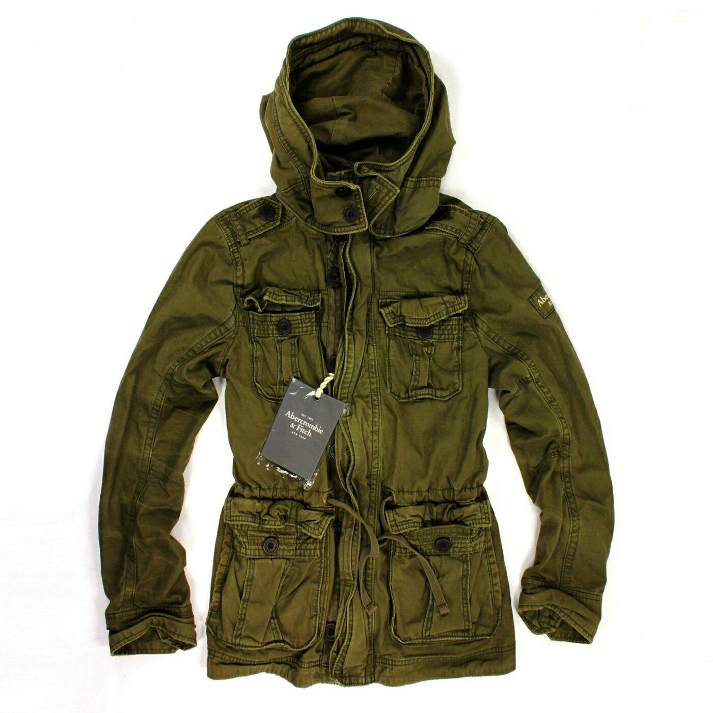美國百分百【Abercrombie & Fitch】AF 麋鹿 男 綠 長袖 外套 夾克 立領 S 修身 騎士 E280