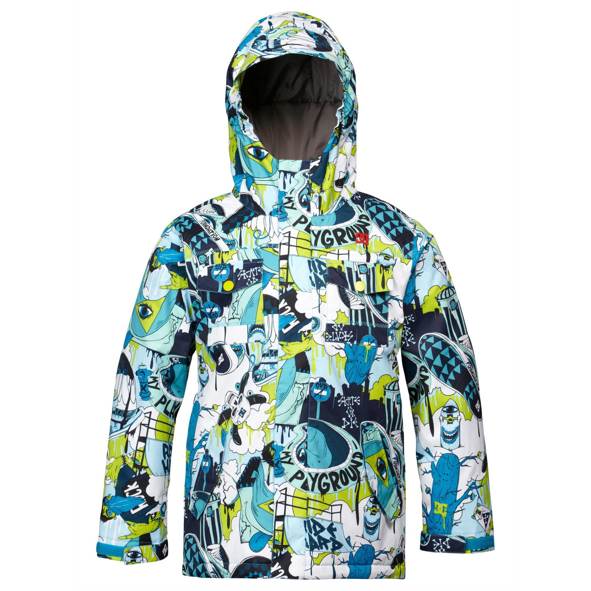 美國百分百【全新真品】DC 塗鴉 潮流 超厚 保暖 帽T 連帽 外套 夾克 滑雪 防寒 童裝 男孩 S號 E285