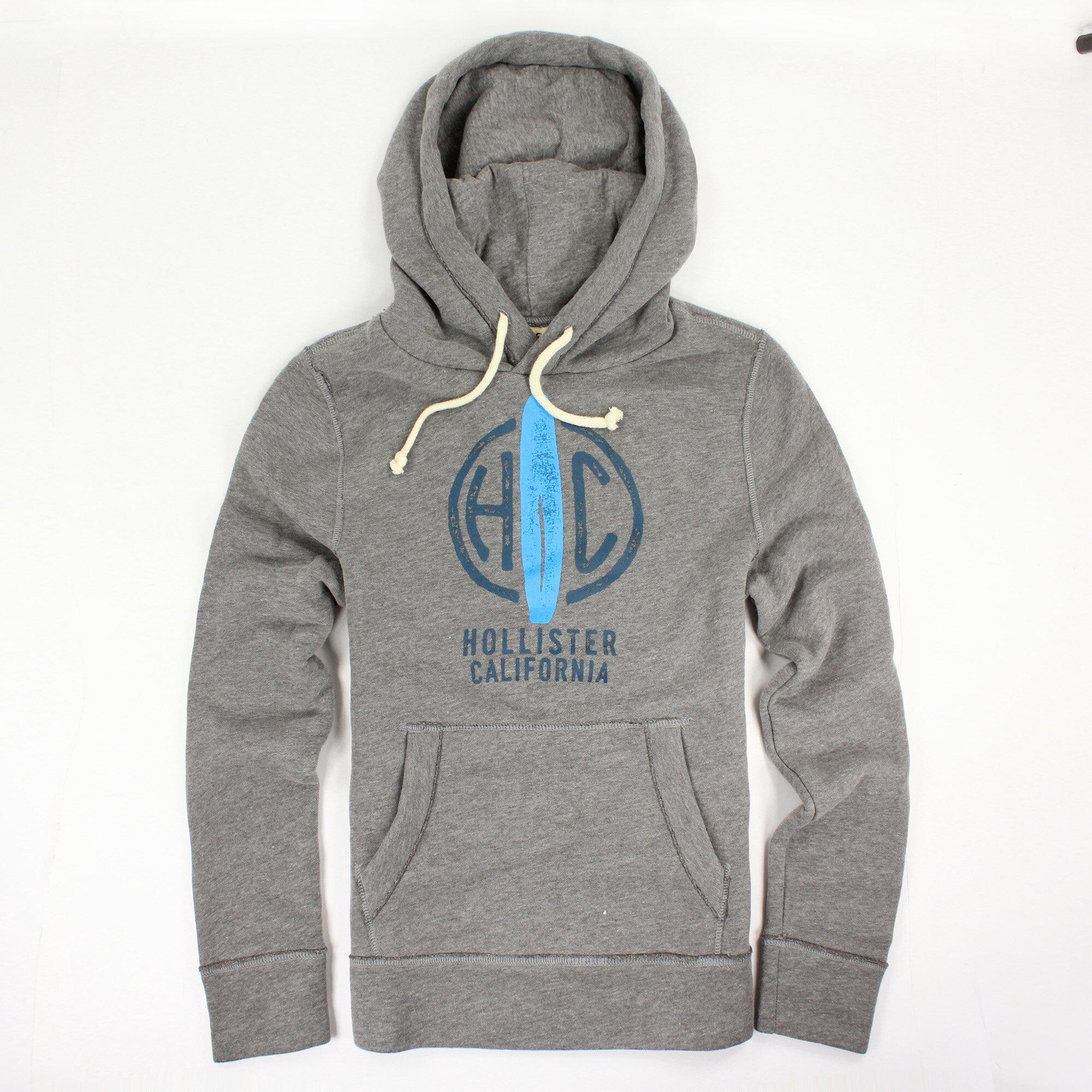 美國百分百【全新真品】Hollister Co. T恤 HCO 長袖 T-shirt 海鷗 連帽 S號 灰色 E305