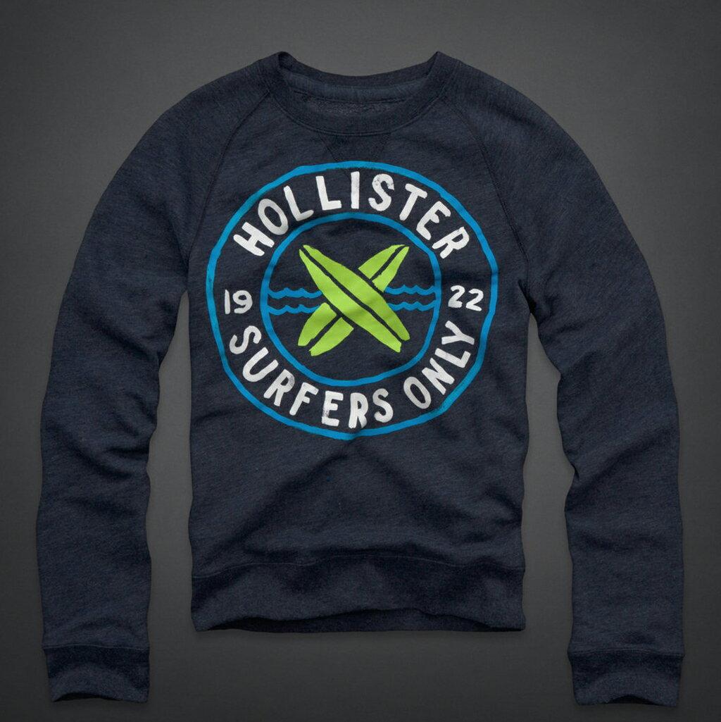 美國百分百【全新真品】Hollister Co. T恤 HCO 長袖 T-shirt 海鷗 連帽 S號 深藍 E306