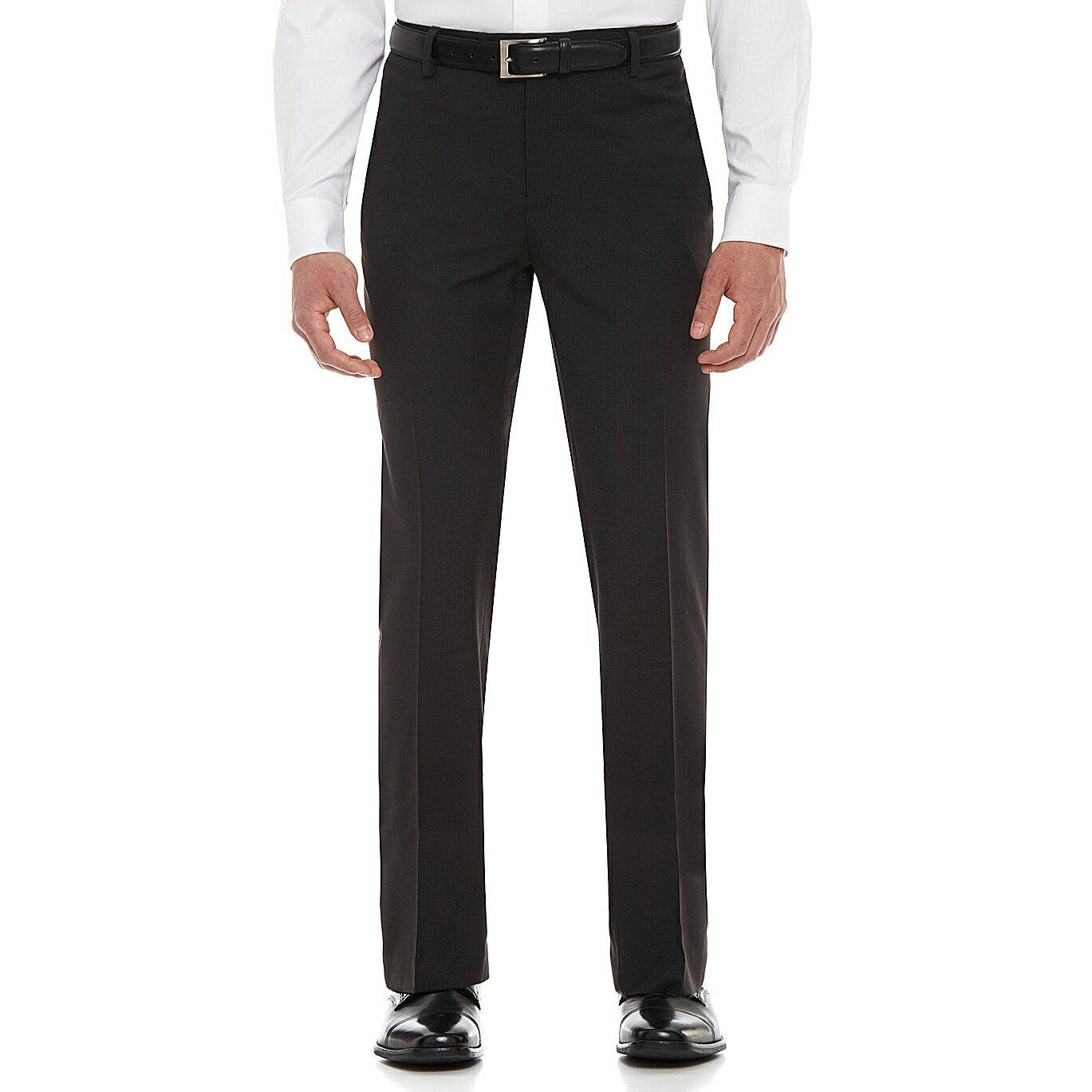 美國百分百【全新真品】Kenneth Cole 長褲 KC 西裝褲 直筒褲 上班 休閒 合身 黑 條紋 34腰 E311