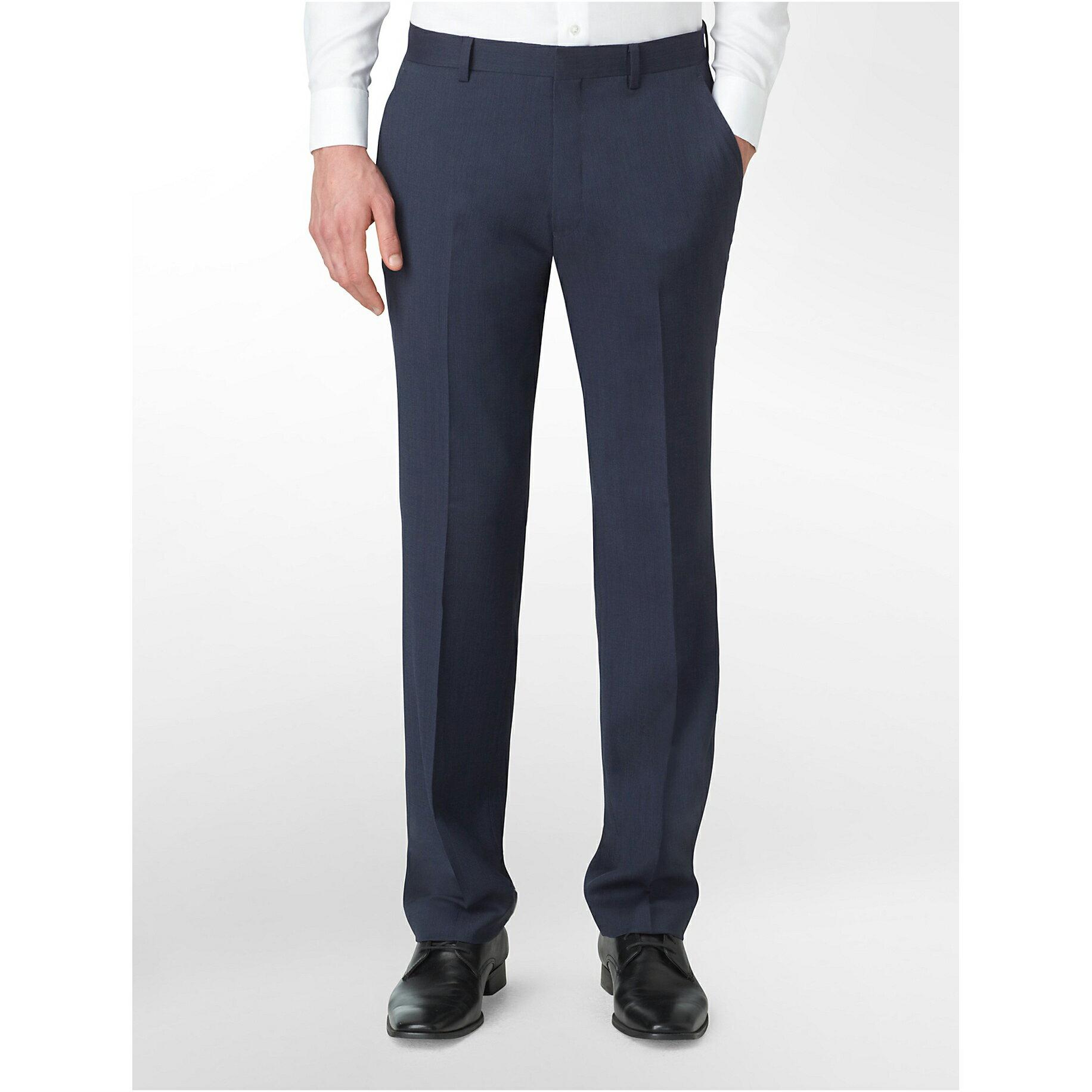 美國百分百【Calvin Klein】長褲 CK 西裝褲 直筒褲 休閒褲 上班 合身 窄版 藍色 29腰 E313