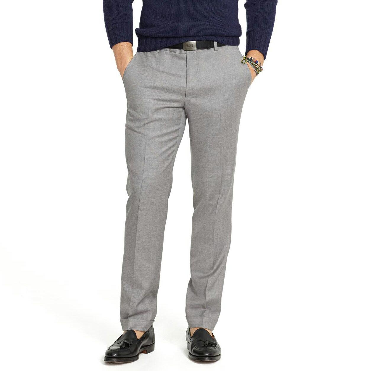 美國百分百【Ralph Lauren】長褲 RL 西裝褲 直筒褲 休閒褲 上班 合身 窄版 灰色 30 32腰 E320