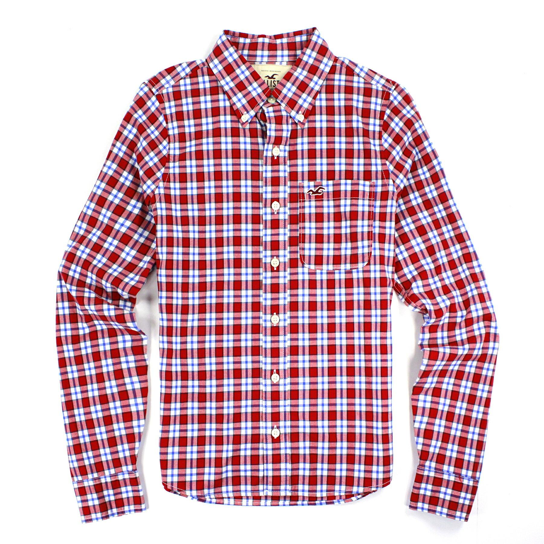 美國百分百【全新真品】Hollister Co. HCO 男 海鷗 紅 藍色 格紋 長袖 休閒 S號 襯衫 C425