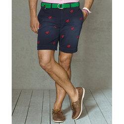 美國百分百【全新真品】Ralph Lauren 褲子 RL 短褲 五分褲 Polo 深藍 純棉 龍蝦 32腰 E290
