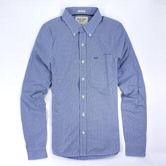 美國百分百【全新真品】Abercrombie & Fitch AF 麋鹿 男 藍 格紋 長袖 襯衫 休閒 XL E333