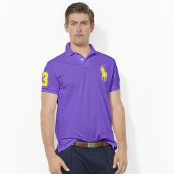 美國百分百【全新真品】Ralph Lauren Polo 衫 RL 短袖 網眼 大馬 素面 紫色 男 XS號 B004