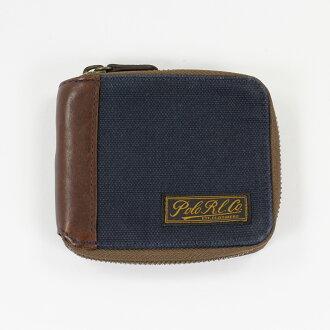 美國百分百【全新真品】Ralph Lauren 皮夾 RL 短夾 中夾 Polo 帆布 深藍 錢包 鈔票夾 E344
