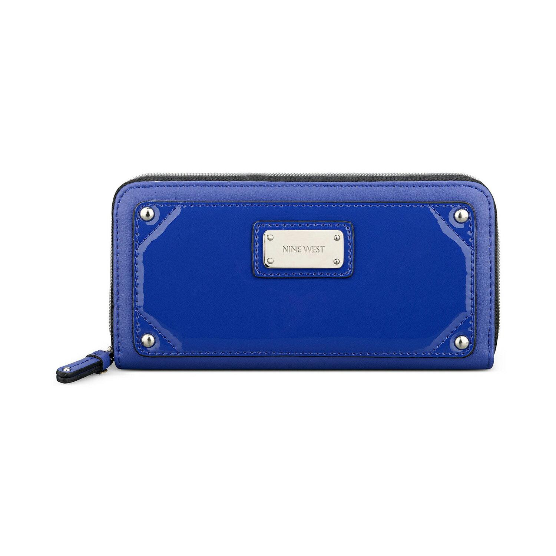 美國百分百【全新真品】NINE WEST 皮夾 小包 手拿包 外出包 長夾 隨身包 晚宴包 錢包 漆皮 藍 E346