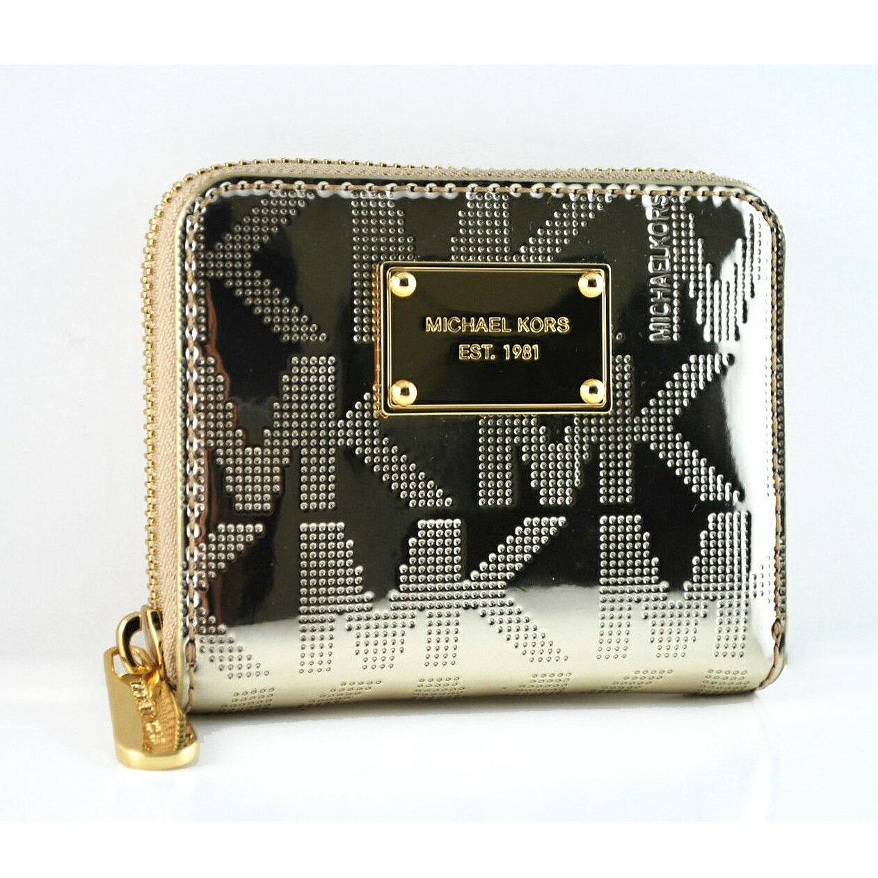 美國百分百【全新真品】Michael Kors 皮夾 小包 手拿包 隨身包 晚宴包 錢包 短夾 壓紋 漆皮 金 E349