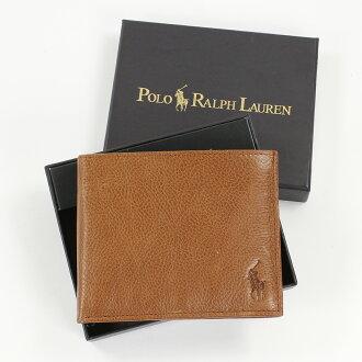 美國百分百【全新真品】Ralph Lauren 皮夾 RL 短夾 Polo 黃褐色 真皮 夾層 鈔票 名片 男 A183