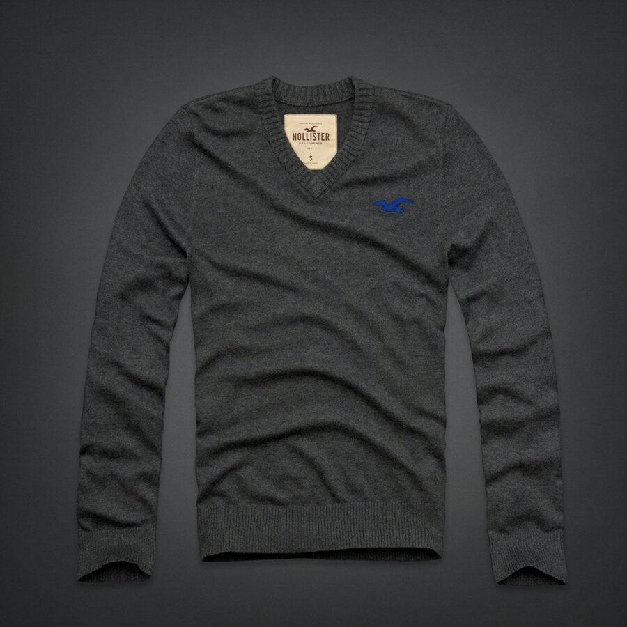 美國百分百【全新真品】Hollister Co. HCO 海鷗 V領 深灰 素面 毛衣 針織衫 線衫 L XL C407