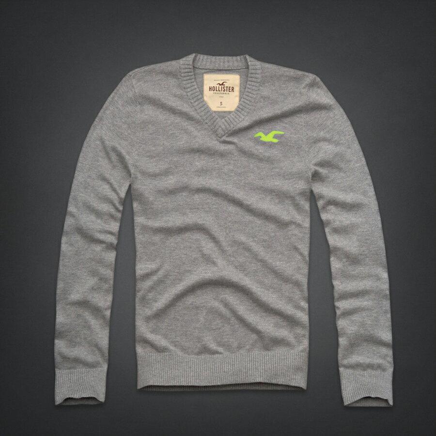 美國百分百【全新真品】Hollister Co. HCO 海鷗 V領 灰色 素面 毛衣 針織衫 線衫 L XL C407
