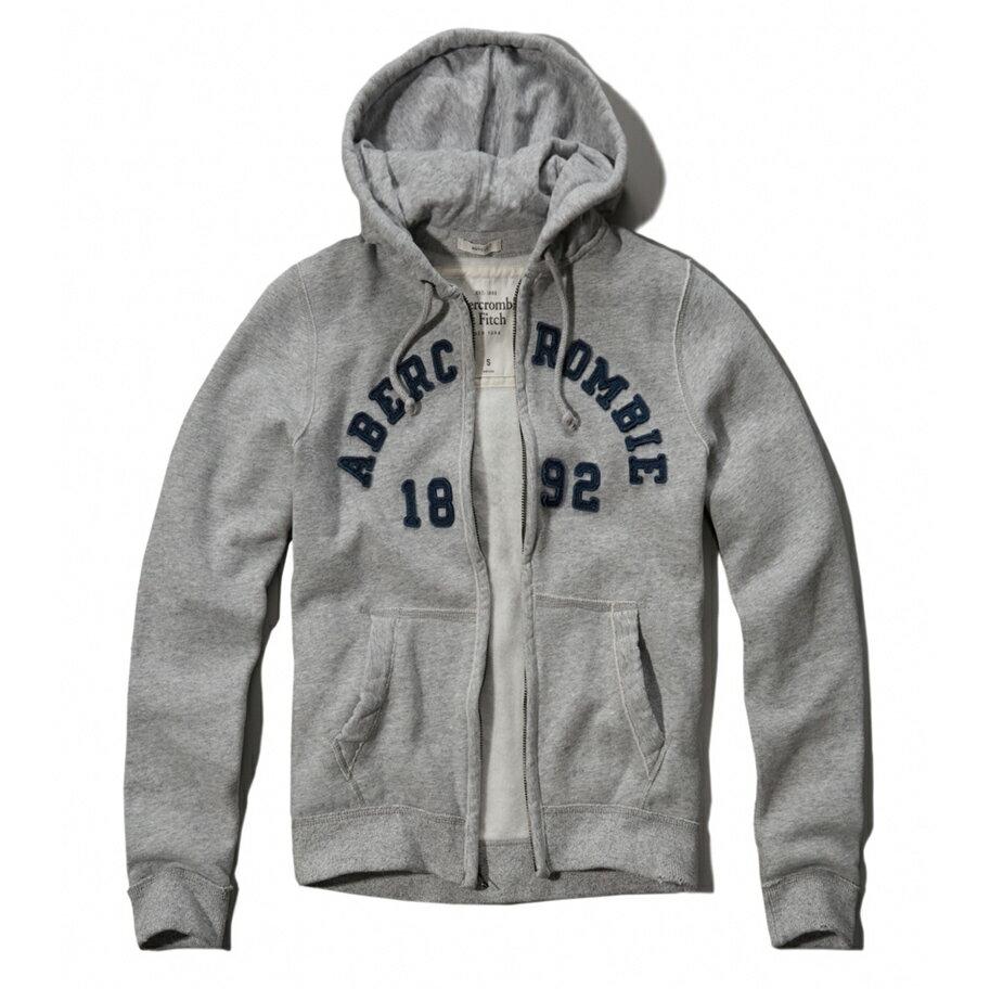 美國百分百【全新真品】Abercrombie & Fitch 外套 AF 連帽 夾克 帽T 麋鹿 灰色 XL XXL號 E362