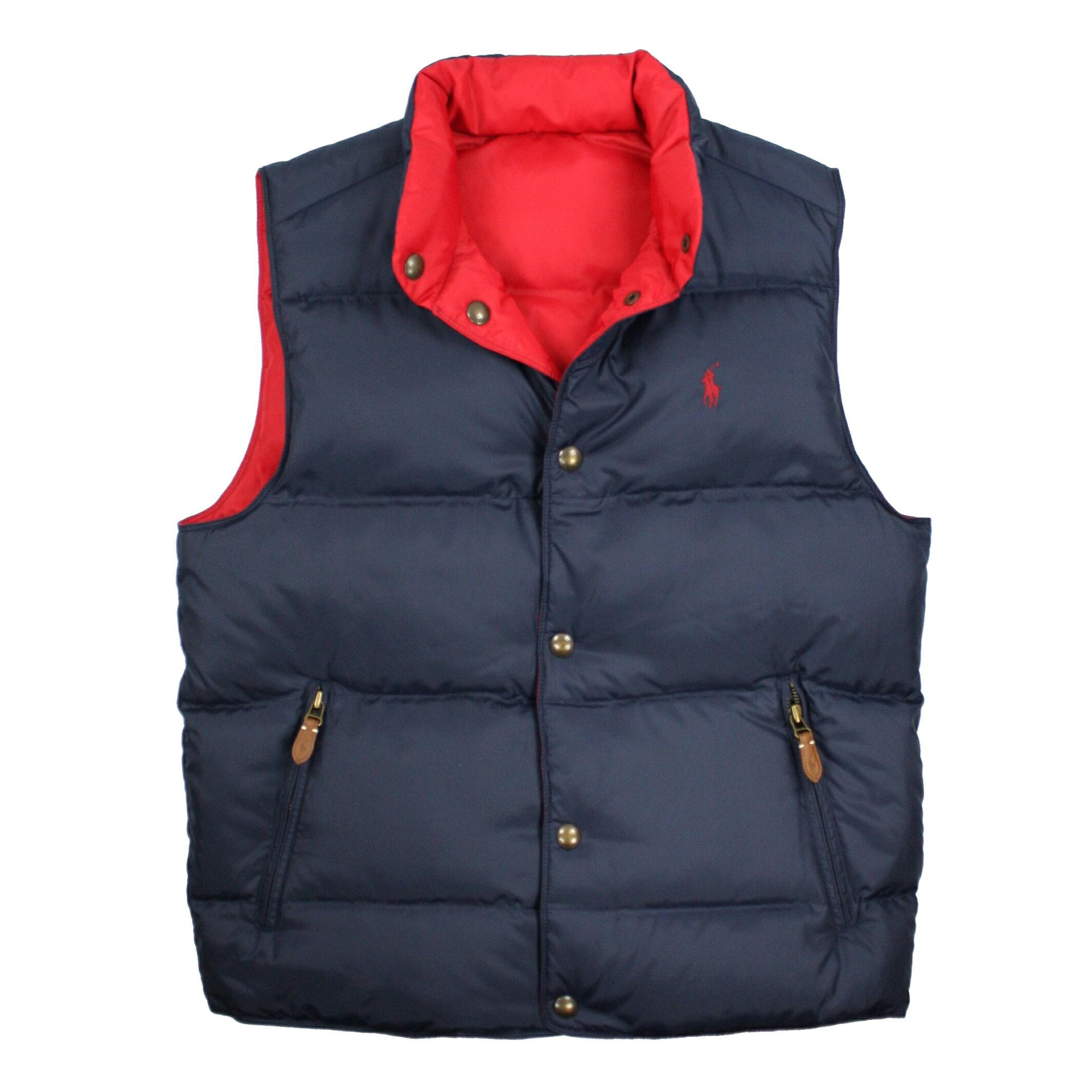 美國百分百【Ralph Lauren】背心 RL 外套 Polo 小馬 羽絨 雙面 紅 藍 男衣 S XXL A476