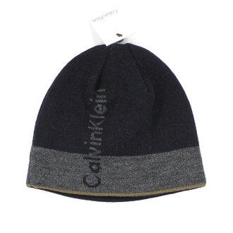 美國百分百【全新真品】Calvin Klein 男帽 扁帽 配件 毛帽 帽子 毛線帽 藍 灰 CK 針織帽 E368