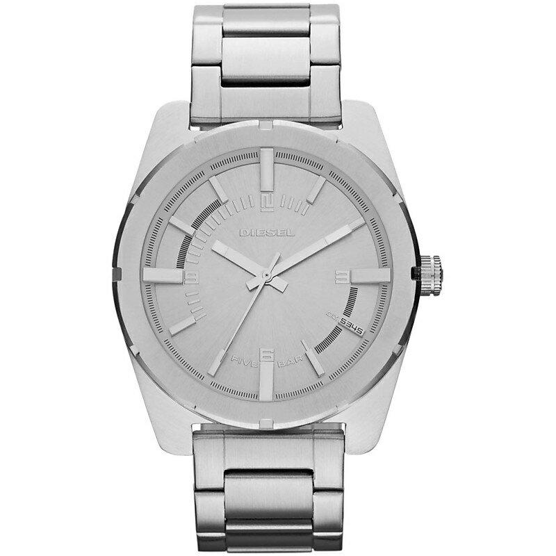 美國百分百【全新真品】Diesel 配件 手錶 腕錶 金屬 運動 男 女 石英 設計 時尚 不鏽鋼 雅痞 銀色 E386