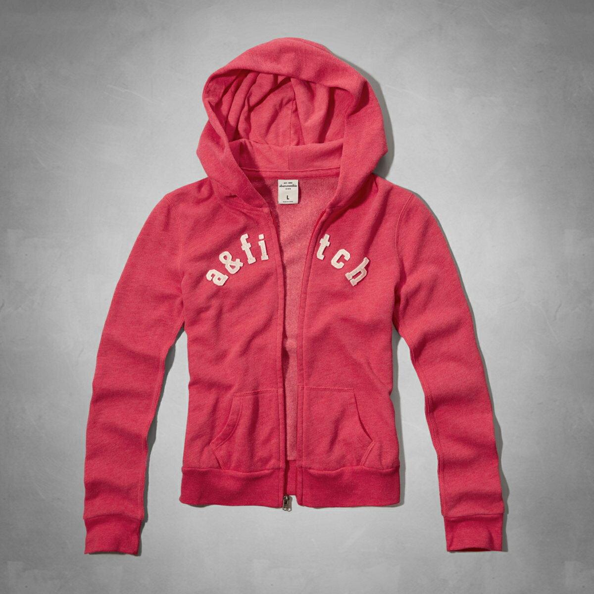 美國百分百【Abercrombie & Fitch】外套 AF 連帽 夾克 帽T 麋鹿 桃紅 粉紅 女 S號 E391