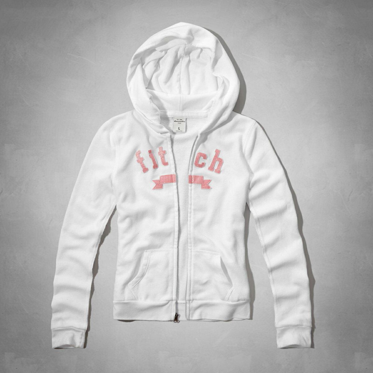 美國百分百【Abercrombie & Fitch】外套 AF 連帽 夾克 帽T 麋鹿 白色 女 S號 E391