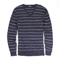美國百分百【全新真品】Ralph Lauren 針織衫 RL 線衫 V領 Polo 小馬 深藍 條紋 長袖 M E395