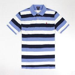 美國百分百【全新真品】Ralph Lauren POLO衫 RL 上衣 條紋 小馬 短袖 網眼 藍 深藍 S號 E396