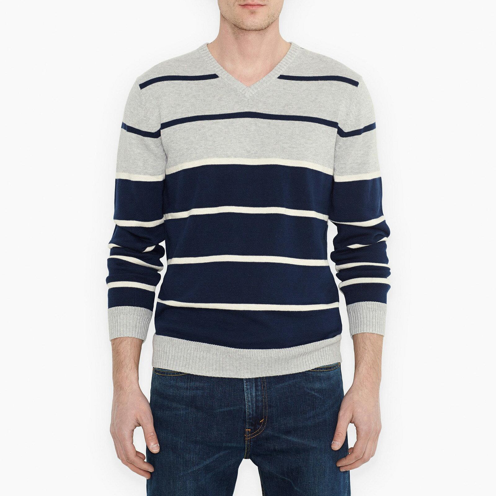 美美國百分百【全新真品】Levis T恤 V領 上衣 針織衫 線衫 毛線 長袖 深藍 灰色 條紋 男衣 M號 E398