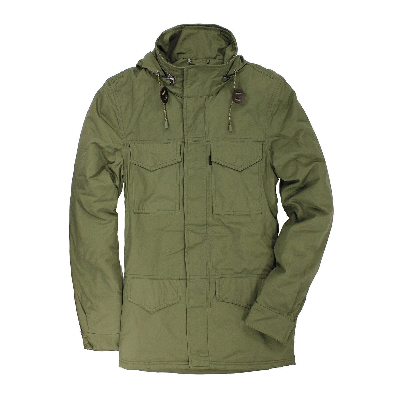 美國百分百【全新真品】Levis 夾克 立領 連帽 男款 風衣 外套 綠色 外衣 騎士 雙頭馬車 保暖 S號 E403