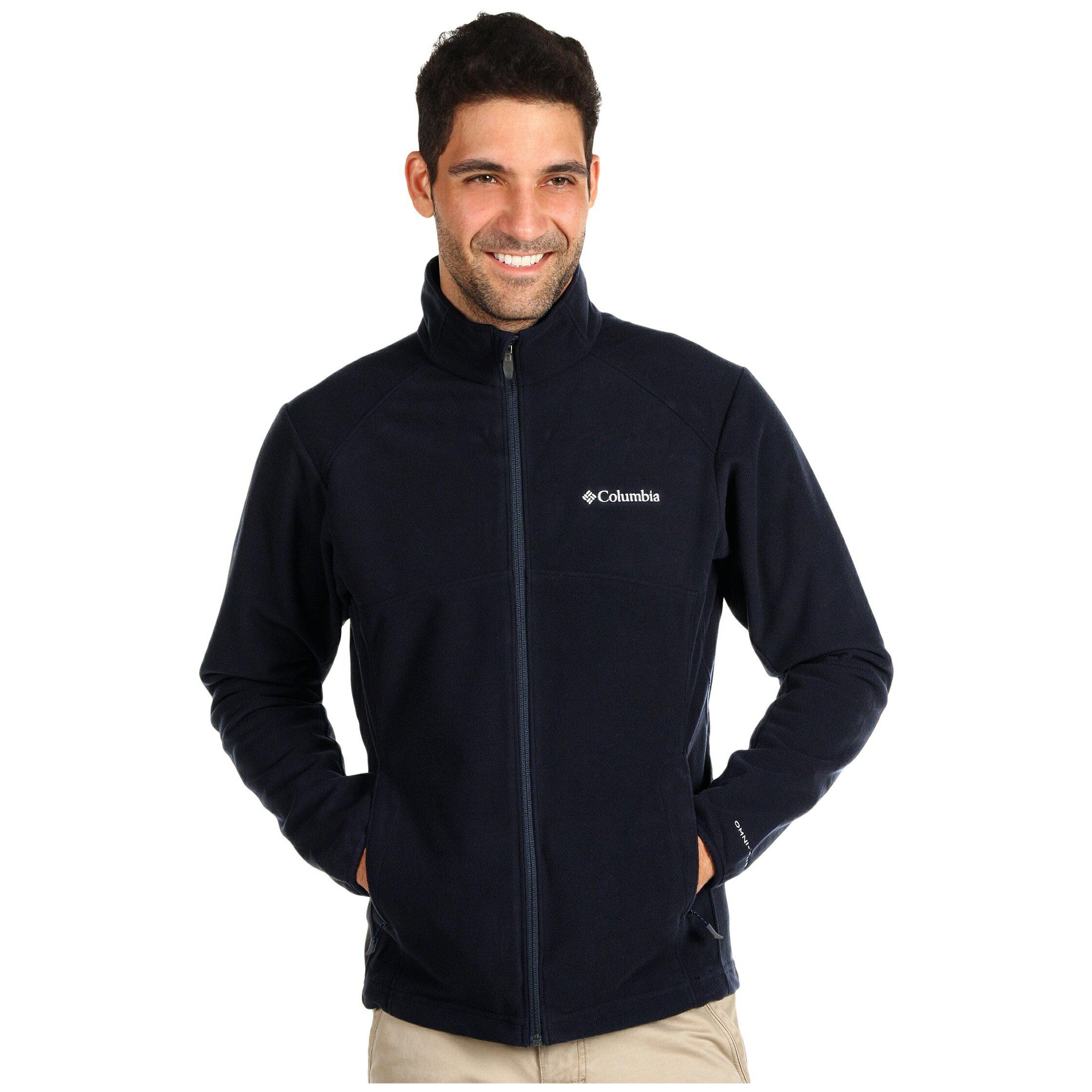 美國百分百【全新真品】Columbia 外套 夾克 哥倫比亞 深藍 軟殼 刷毛 防潑水 防風 保暖 透氣 M號 E407